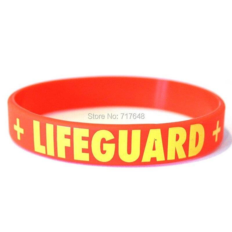HANJUNSHSY 100pcs Lifeguard Red wristband silicone
