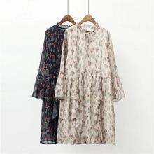 Большие размеры Высокая талия платья женщин 2018 Весна рукав «фонарик» цветочным принтом дамы оборками элегантные платья плиссированные платья женские