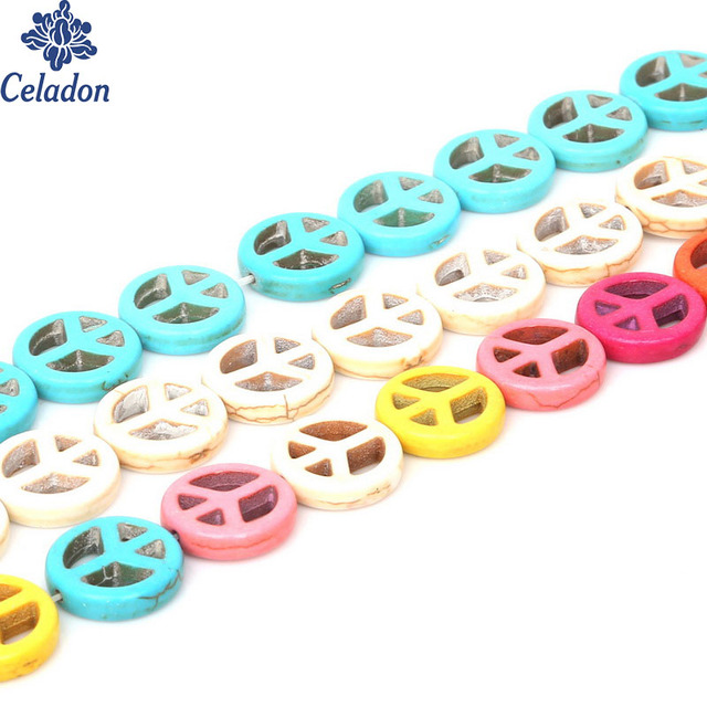 Approx 26pcslot 15mm Cheap Fashion Beads Colorful Peace Symbol