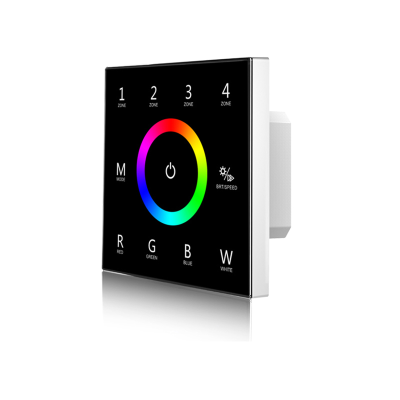 New Led RGBW Strip Controller Wall Touch Panel RF2.4G AndDMX Master Wireless Multi Function 100V-240V 4 Zone Controller T14
