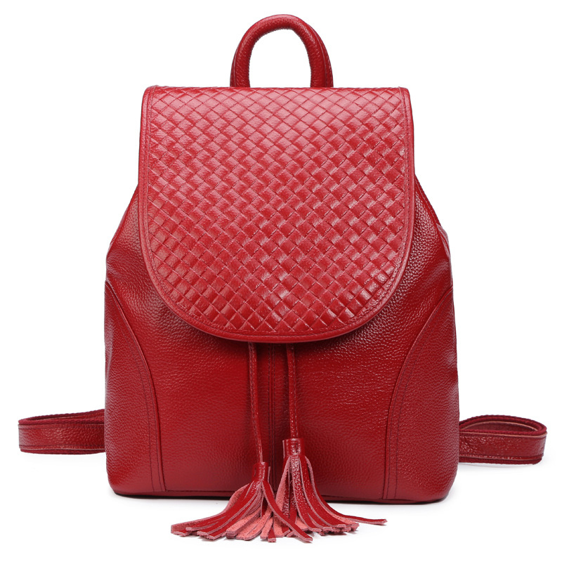 Preppy style genuine leather girl's school bags fashion women travel backpacks casual real cowhide shopping shoulder bags 2016 go meetting fashion genuine leather backpack women bag preppy style girls school bags top layer cowhide leather travel backpacks