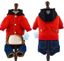 Dog Pet Jumpsuit Jean Pocket Hood Clothes for Small Pet Winter Dog Outfit Pet Coat Overalls XS S M L XL