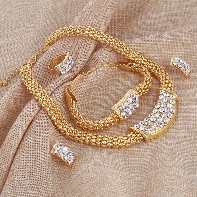 Amazing Price Wedding Gold Jewelry Sets For Women Pendant Statement African Beads Crystal Necklace Earrings Bracelet Rings 4