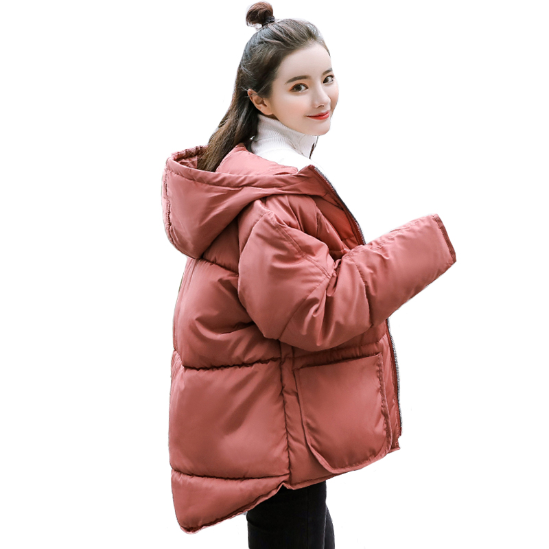 Korean Style 2019 Winter Jacket Women Hooded Short Padded Fashion Female Coat Oversized Outwear   Parka   Abrigos Mujer Invierno