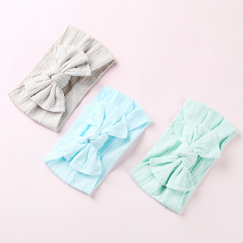100 Pcs/lot, Wholesale Wide Nylon Bow Headwrap, One Size Fits Most Knot Bow Nylon Headbands 27 Colors Available