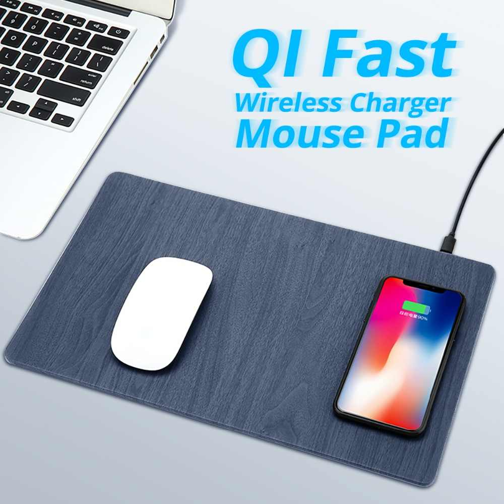 FONKEN Wireless Charger Mouse Pad Qi 10W Wireless USB Charging for Phone Desk Charger Pad PU Wood Grain Quick Charge Dock