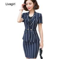 Summer Career skirt suit women fashion New slim stripes short sleeve blazer and skirt office ladies business interview work wear