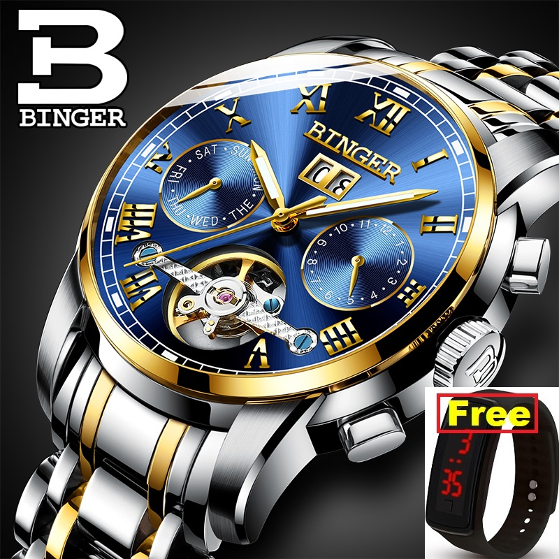 Binger Watches Mechanical-Watch Masculin Switzerland Sapphire Waterproof Wrist Luxury Brand