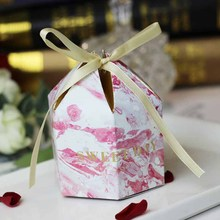 50pcs New arrival  hotsale red hot gold wedding candy box creative romantic gift