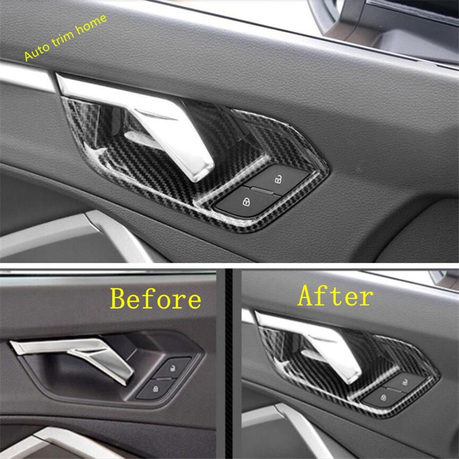 Lapetus Interior Kit Inner Door Handle Doorknob Bowl Cover Trim Fit For Audi Q3 2019 2020 Abs Matte Carbon Fiber Look Interior Mouldings Aliexpress
