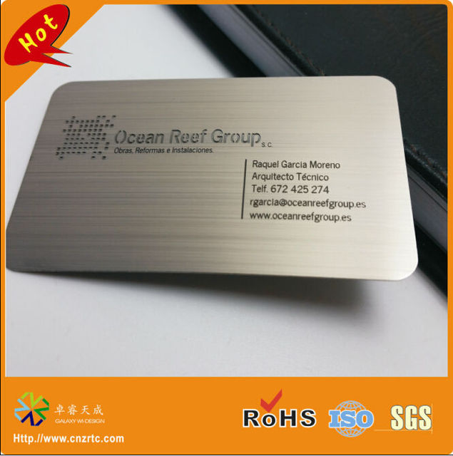 Top brushed finish etching stainless steel material brushed steel card  PZ63