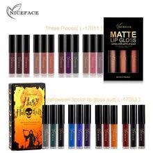 ФОТО 3pcs/lot matte long-lasting lipstick liquid 12 colors waterproof  lip gloss 5gx3 lips makeup brand nice face #l17011-l17053