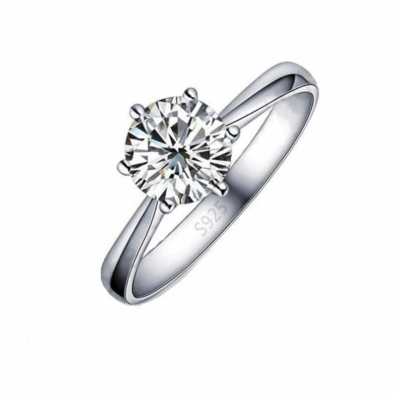 Elegant Classic Real 925 Sterling Silver Finger Rings Jewelry Crystal Cubic Zircons 6 Claws Women Wedding Anillos