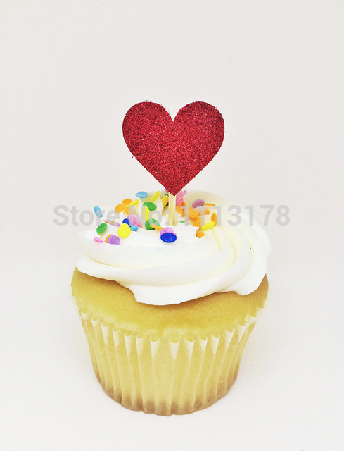 glitter red heart cupcake toppers Bridal Shower Cupcake toppers ...