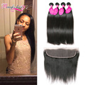 Straight Lace Frontal Closure With Bundles 4 Bundles Straight Malaysian Virgin Hair With Closure Straight Hair Weft With Frontal