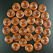 50Pcs Craft Coffee 4 Holes Round Wood Sewing Buttons 25mm (1) Dia DIY Clothing Accessories