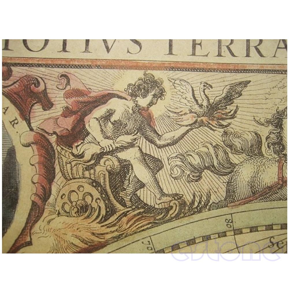 71x50cm Old World Globe Map Matte Brown Paper Poster Retro Vintage Decor #4