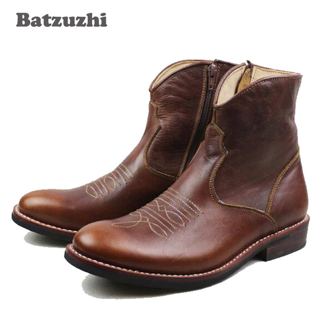 100% Handmade Men's Winter Boot Genuine Leather Men's American Cowboy Ankle Booot Western Style Military Boots Brown Botas, 44