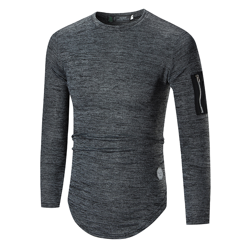 Mens Hipster Hip Hop Pullover Fashion Longline Long Sleeve T-Shirt with Side Zipper Arm Pockets 2018