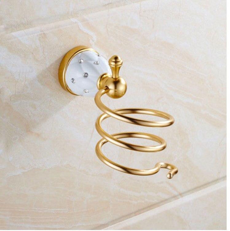Bathroom Hair Dryer Holder Hair Dryer Rack Solid Brass Golden/Chrome Diamond Storage Rack Shelf Decoration Bathroom Accessories