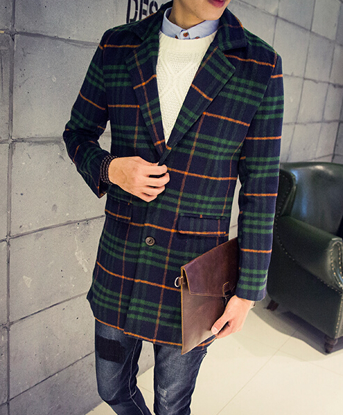 Popular Korean new fashion plaid trench coat men 3xl black red gray green  RX81