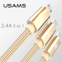 3 IN 1 Microusb Micro USB Cable For Samsung Android USAMS Nylon Brainded Usb Charging Cable