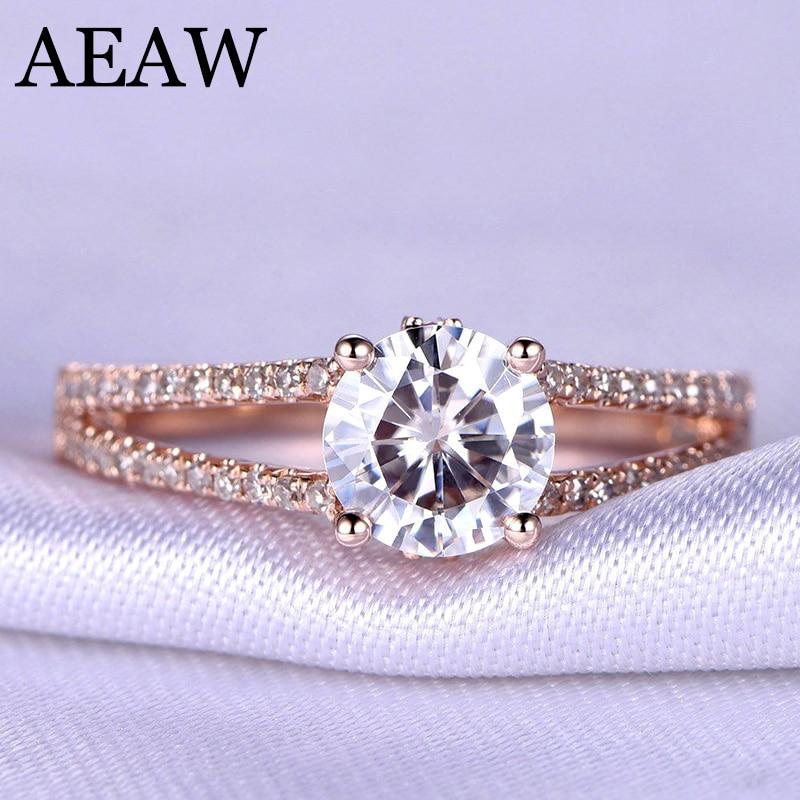 1 Carat ct 6.5mm Round Cut Engagement&Wedding Moissanite Diamond Ring with Twist Ringband Genuine 10K 585 Rose/yellow/White Gold