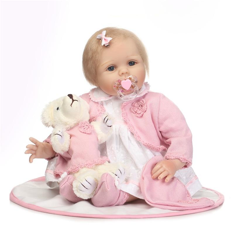 Muñecas de bebé Reborn de silicona suave de 22 pulgadas para niños, juguete de bebé realista de 55 cm, con oso