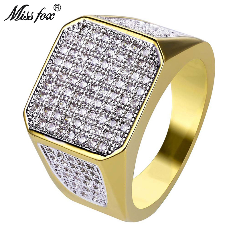 Detail Feedback Questions about MISSFOX Hip Hop Classic Gold Ring Men 18K  Real Gold Plated Wedding Dainty Ring Quality Micro Pave CZ Diamond Square  Men ... a5aa86ee275b