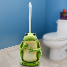 Home Toilet Brush Bathroom Cleaning Accessories Cartoon Green Frog Hotel Lavatory Kit Resin Base WC Clean Supplies