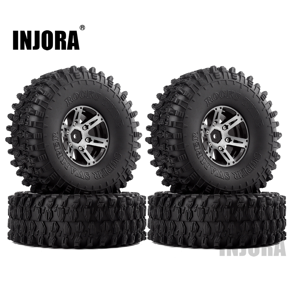 "Image 3 - INJORA 4Pcs 1.9"" Beadlock Wheel Rim & 1.9 Rubber Tires Set for 1/10 RC Crawler Axial SCX10 90046 RC Car Parts-in Parts & Accessories from Toys & Hobbies"