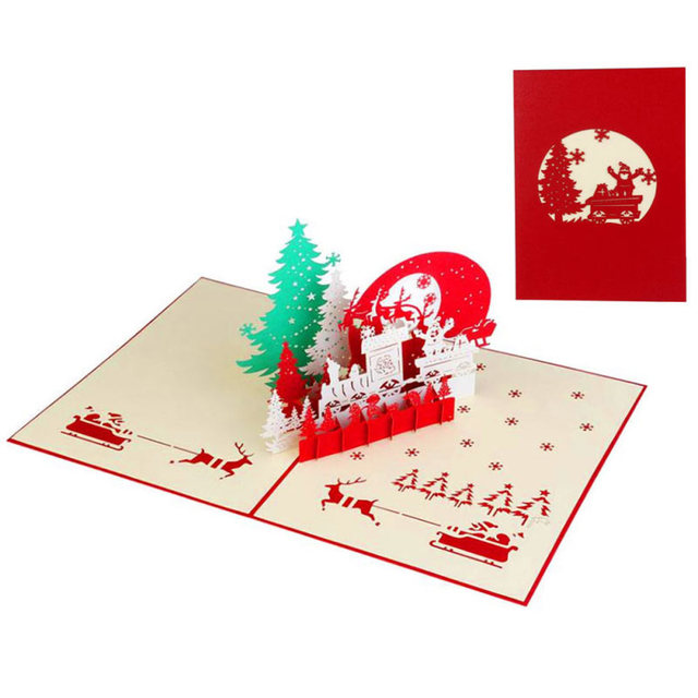 3D Christmas Greeting Card Party Wedding Invitations Card Greeting ...