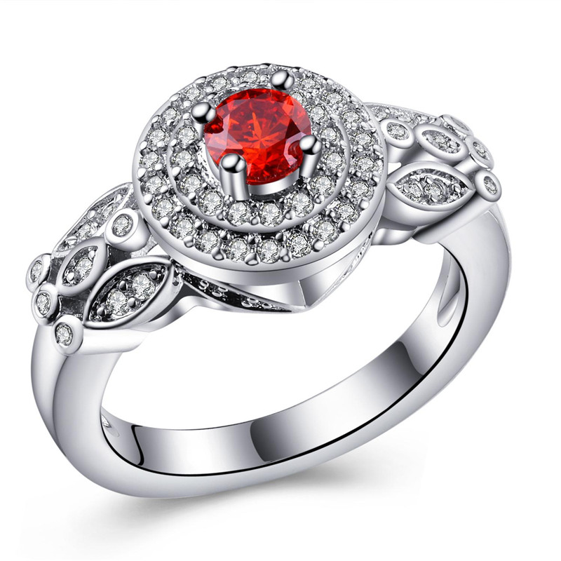 SHUANGR Luxury Red CZ wedding Rings for women Jewelry Silver-Color party rings with Austria Crystals Anel bijoux