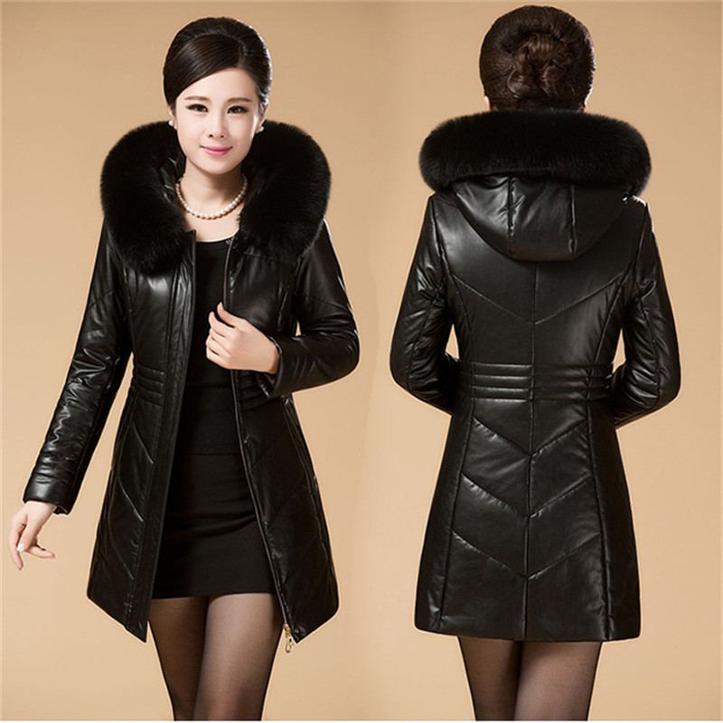 2019 Winter   Leather   Cotton-padded Coats New Middle Age Women Hooded Slim   Leather   Jacket Warm Medium Long Outerwear Plus Size 8XL