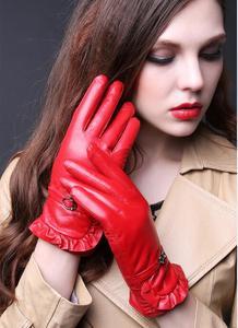 Image 4 - Женские кожаные перчатки TBWA593, толстые теплые перчатки из 100% овечьей кожи для вождения и верховой езды, Осень зима 2019