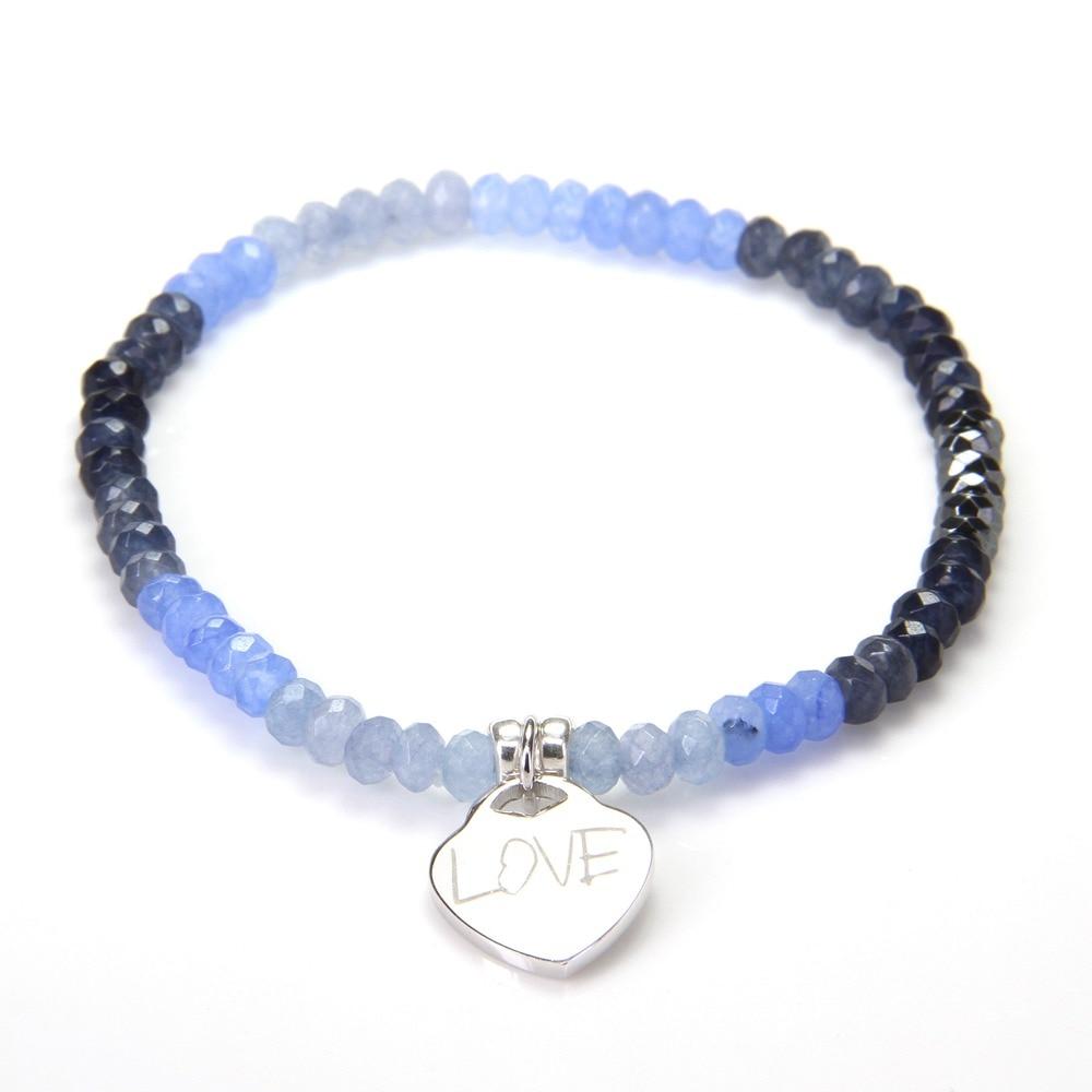 HEMISTON Thomas Blue Chalcedony Nature Stone Bracelet con plata de - Joyas