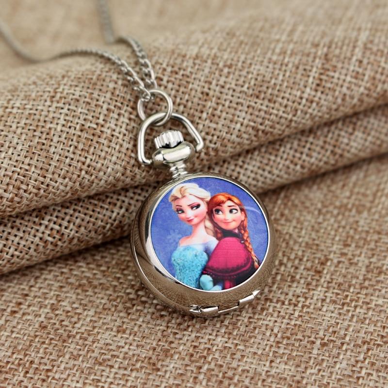 4 Style la neige princesse Anna Elsa montre de poche collier anna a verre dôme conception Quartz collier hommes femmes enfants cadeau de noël