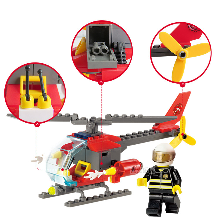 89PCS DIY Fire Fighting Helicopter Building Blocks Plastic Toys Kit Small Particles Building Blocks Educational Toy For Children