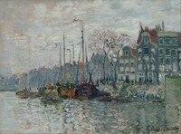Claude Monet Có Khung Trang Trí Nội Thất Canvas Vẽ Tranh 1 Piece Sông thuyền và bờ nhà Wall art Tranh In cho Khách phòng