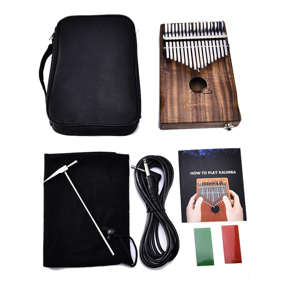 New 17 Keys EQ kalimba Solid Acacia Thumb Piano Link Speaker Electric Pickup with Bag Cable