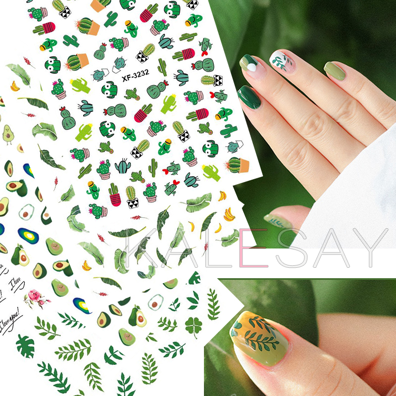 DIY Summer Refresh Nail Art Stickers Cooling Leaf Nail Sticker Decals Manicure Design Cactus Stickers For Nails Decoration