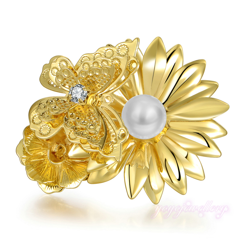 Mytys size 7 8 9 adjustable yellow metal flower ring peal flower mytys size 7 8 9 adjustable yellow metal flower ring peal flower heart butterfly and flower rings r1151 in rings from jewelry accessories on mightylinksfo