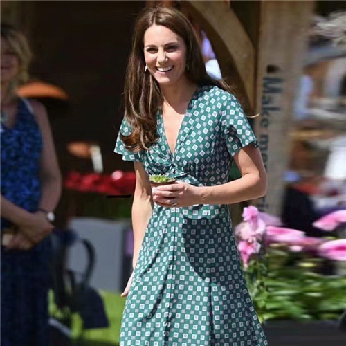 2019 été kate middleton robe élégante vert manches courtes mi-mollet robes pour femmes réel Photo top qualité profonde col en v xl