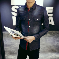 2017 spring men shirt brand clothing deep blue denim shirt fashion male jeans tops clothing chemise.jpg 250x250