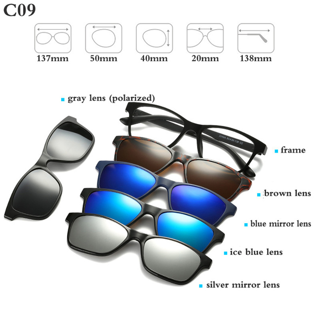 Fashion Optical Spectacle Frame Men Women With 5 Clip On Sunglasses Polarized Magnetic Glasses For Male Myopia Eyeglasses RS159 4
