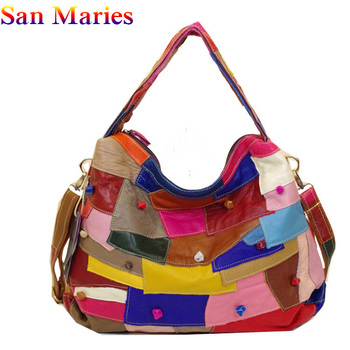 San Maries Genuine Leather Hand Shoulder Women Messenger Totes Bag Female Handbag Ladies Casual Patchwork Bags 2019