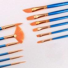 Новые 12 для набора щеток нейлоновые кисти для рисования различные стильные акриловые кисти фломастеры художественные принадлежности NE