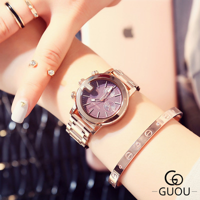 GUOU New Fashion Classic small dial Stainless steel watch Women luxury brand ladies Dress watches waterproof quartz watch Gift guou new luxury classic ladies stainless steel watch fashion three eyes quartz women watches casual ladies gift wrist watch hot