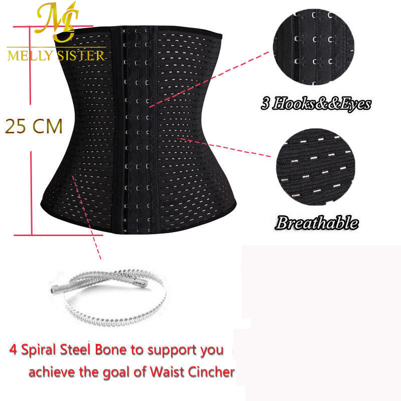 151fc24d30c5a 3Rows hooks women slimming Cheap body shaper Bustier belt fashion 4 steel  boned waist corsets black Plus size Shapewear S 3XL-in Waist Cinchers from  ...