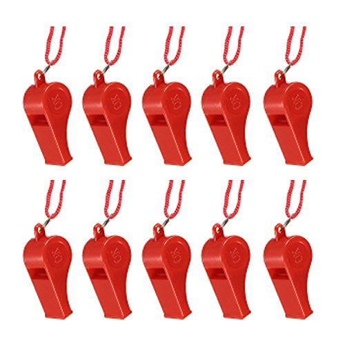 New Sale 10pcs Plastic Multicolor Referee Whistle Red/Yellow/Blue/Pink